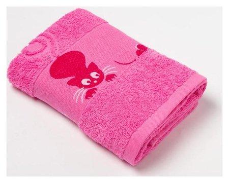 Полотенце махровое с бордюром «Кошки» цвет розовый, 50х90см Текстиль центр