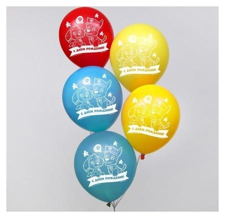 """Воздушные шары """"С днем рождения!"""", щенячий патруль 12 дюйм (Набор 5 шт)  Paw patrol"""