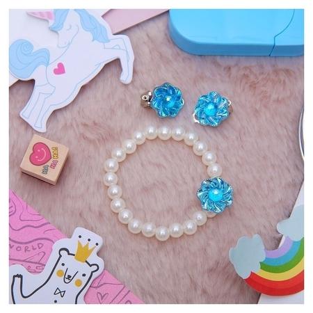 Набор детский 2 предмета: браслет, клипсы, цветок перламутровый Выбражулька
