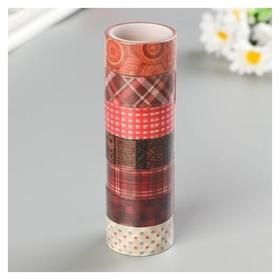 Клейкие Washi-ленты для декора оттенки красного, 15 мм х 3 м (Набор 7 шт) рисовая бумага  Остров сокровищ
