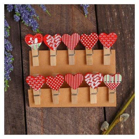 Прищепки декоративные «Сердечки» набор 10 шт.  NNB