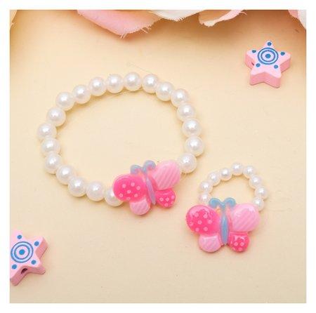 Набор детский Выбражулька 2 предмета: браслет, кольцо, бабочки в горошек Выбражулька