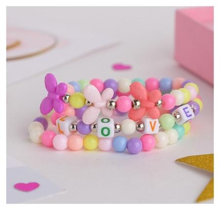 """Набор детских браслетов """"Выбражулька"""" 3шт, бабочки и буквы, цветные"""