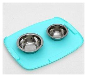 Коврик 2-в-1 под миску/туалет животных, термопластичный каучук, 40 х 30 см  Пижон