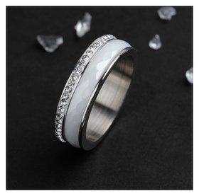 """Кольцо керамика """"Инь-ян"""", цвет белый в серебре, 18 размер"""
