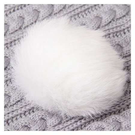 Помпон из натурального меха зайца, размер 1 шт: 10 см, цвет белый  NNB