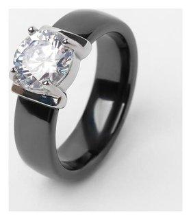 """Кольцо керамика """"Пряжка"""", цвет чёрный, 17 размер"""