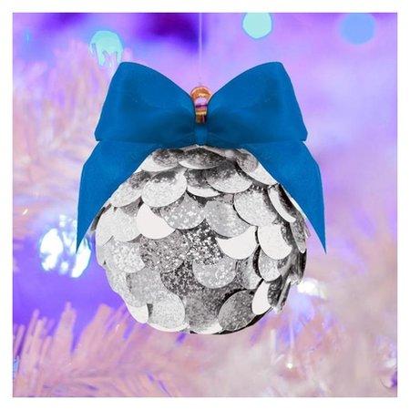 Набор для творчества. создание новогоднего шара с пайетками, серебряный  Школа талантов