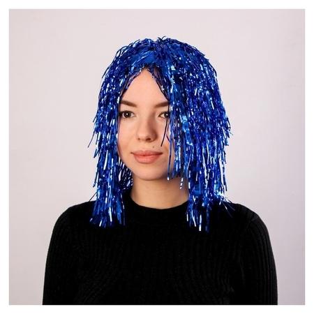 """Карнавальный парик """"Дождь"""" 35 см, цвет синий  NNB"""