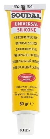 Герметик Soudal, силиконовый, универсальный, бесцветный, 60 гр