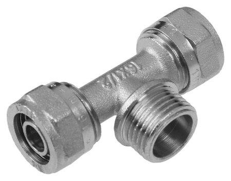 Тройник Aquapex, обжимной, 16 мм х 1/2 наружная резьба х 16 мм AQuapex