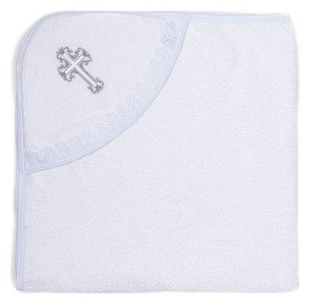 Полотенце-уголок для крещения с вышивкой, размер 100*100 см, цвет белый к40/1  Осьминожка