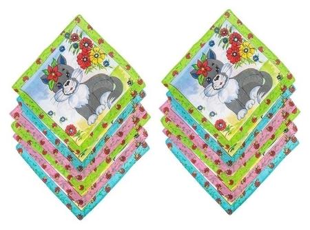 Набор детских носовых платков Melagrana, 20х20 см- 12шт, ситец  КНР