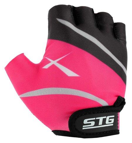 Перчатки велосипедные, размер S, цвет чёрный/розовый  STG