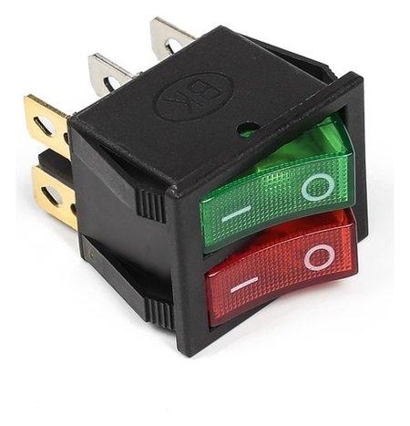 Выключатель клавишный с подсветкой двойной, красно-зеленый  NNB