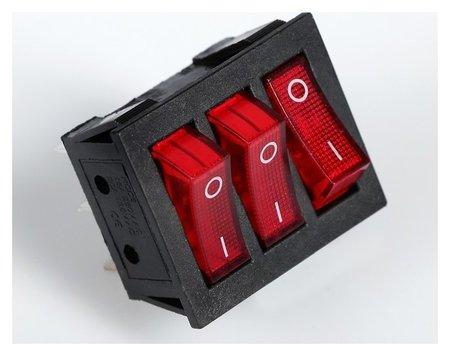 Выключатель трехклавишный с подсветкой, красный  NNB