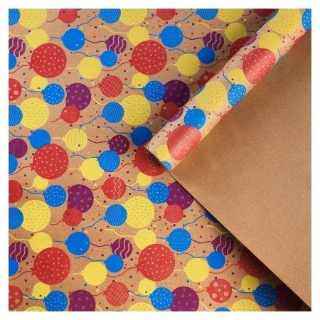 Бумага крафтовая бурая в рулоне «С днём рождения», 0.68 × 8 м  Дарите счастье