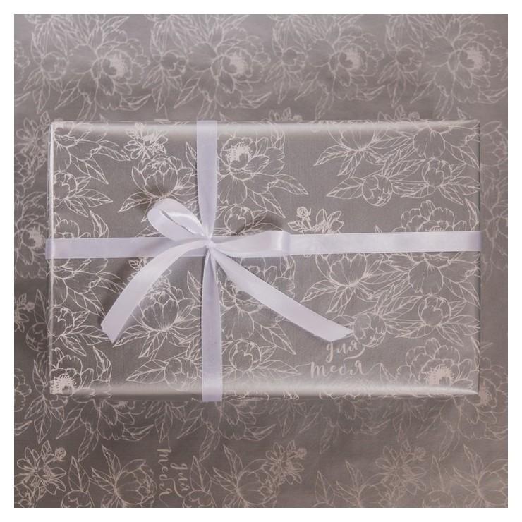 Бумага глянцевая в рулоне «Цветы», серебряная краска 0.68 × 8 м Дарите счастье