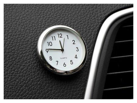 Часы автомобильные, внутрисалонные, диаметр 4.5 см, белый циферблат  NNB