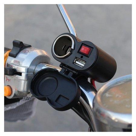 Зарядное устройство с тумблером, на руль мотоцикла, USB + прикуриватель, провод 120 см  NNB