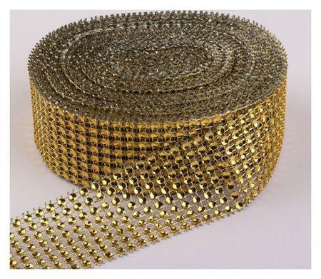 Лента с имитацией страз, 4 см, 9 ± 1 м, цвет золотой  NNB