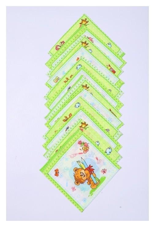 Набор платков носовых детских 18х18 см, 12шт, рис 21020 зеленый 100г/м хл100%  Атра