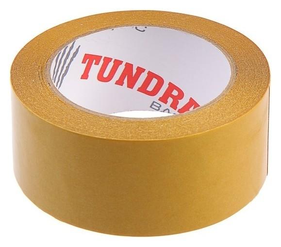 Лента двусторонняя Tundra, 48 мм х 25 м, полипропиленовая, клейкая, прозрачная основа  Tundra