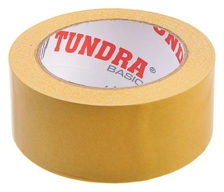 Лента двусторонняя Tundra, 48 мм х 25 м, полипропиленовая, клейкая, белая основа  Tundra