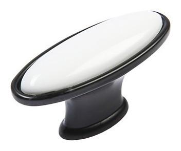 Ручка-кнопка с фарфором Kf06-11, матовый черный  NNB