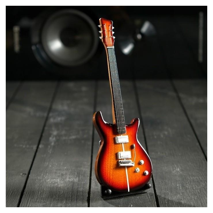Гитара сувенирная Santana коричневая, на подставке 24х8х2 см NNB
