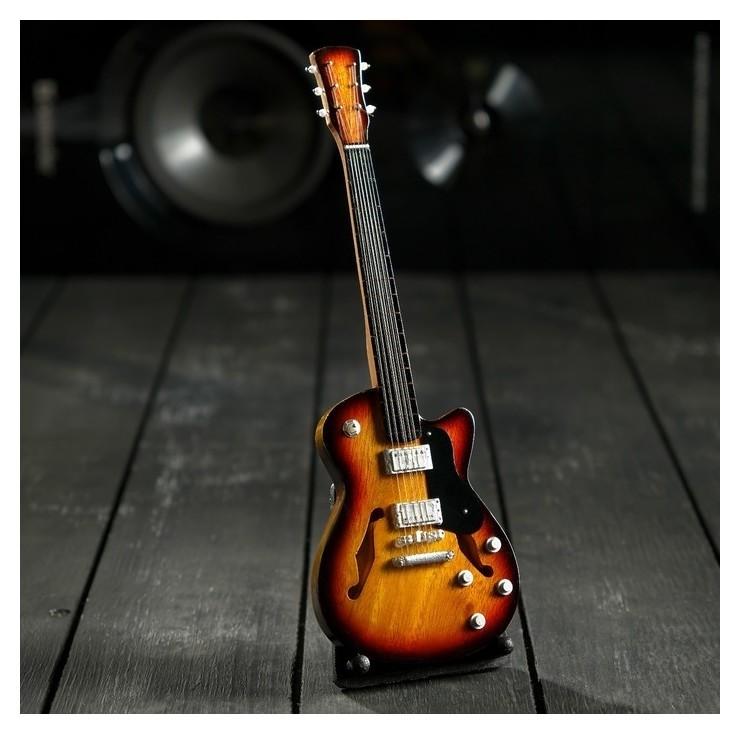 Гитара сувенирная Gibson Es чёрно-жёлтая, на подставке 24х8х2 см NNB