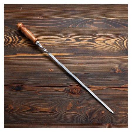 Шампур узбекский для шашлыка 40 см матовый с деревянной ручкой NNB