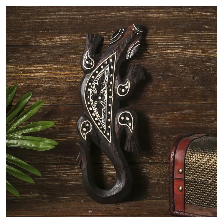 Панно настенное Геккон коричневый с орнаментом NNB
