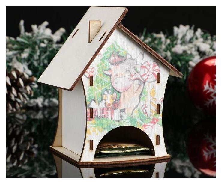 Чайный домик Танцующий символ года 2021. бычок у ёлки, 10×10×13,8 см NNB