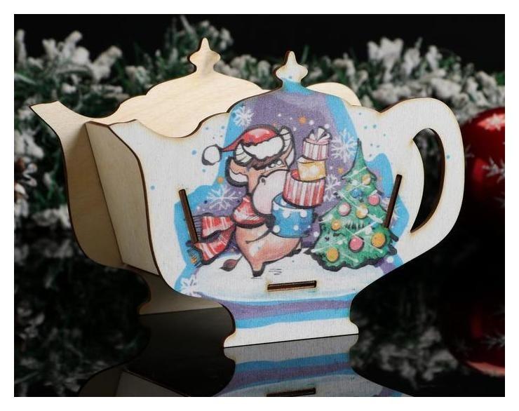 Чайный домик Чайник символ года 2021. бычок с подарками, 18×13×9 см NNB