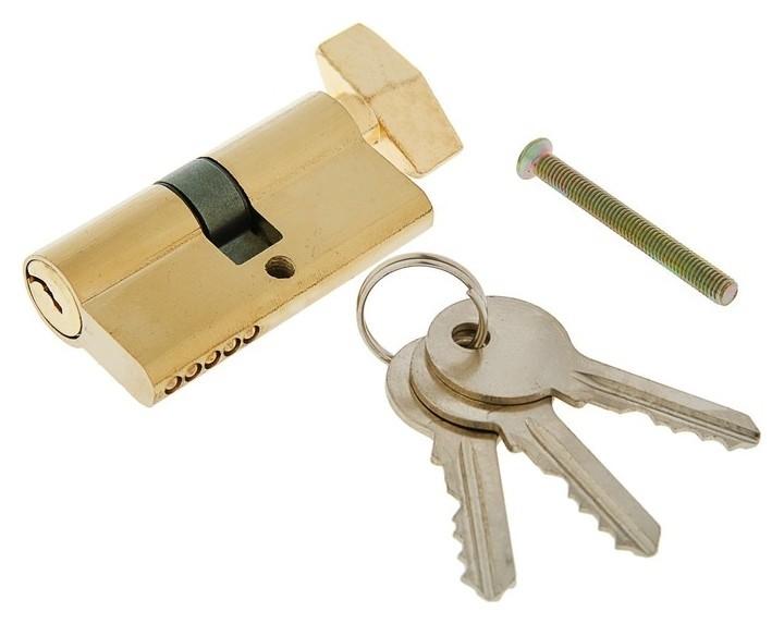 Цилиндровый механизм, 60 мм, с вертушкой, английский ключ, 3 ключа, золото NNB