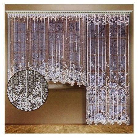 Комплект штор для окон с балконной дверью (Занавеска для окна 340х165 см; занавеска для балконной двери 170х250 см), цвет белый  Лента