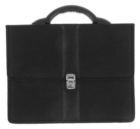 Портфель деловой ткань 370 х 290 х 100 мм, «Всеволожск», комбинированный 5 отделений, чёрный  Канцбург
