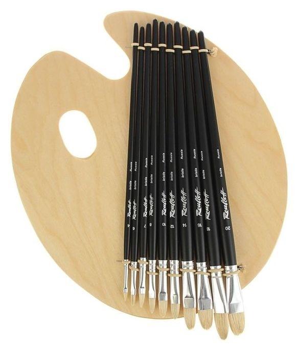 Набор кистей щетина 10 штук Roubloff палитра №41 овальные на деревянной палитре  Roubloff