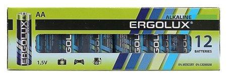 Батарейка алкалиновая Ergolux, AA, Lr6-12box (LR6 Bp-12), 1.5в, набор 12 шт.  Ergolux