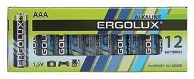 Батарейка алкалиновая Ergolux, Aaa, Lr03-12box (Lr03 Bp-12), 1.5в, набор 12 шт.  Ergolux
