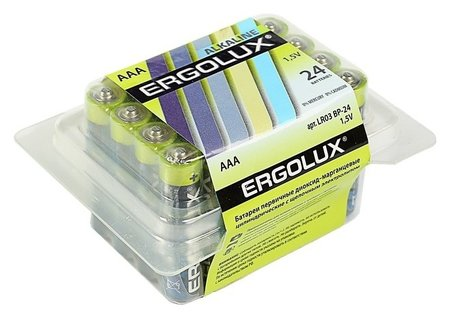 Батарейка алкалиновая Ergolux, Aaa, Lr03-24box (Lr03 Bp-24), 1.5в, набор 24 шт.  Ergolux