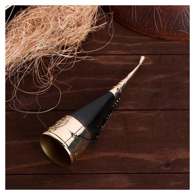 Сувенирный рог быка, 21-24 см, рог, латунь NNB