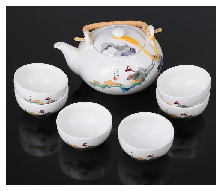 Набор для чайной церемонии Олененок, 7 предметов: чайник 700 мл, чашка 80 мл NNB