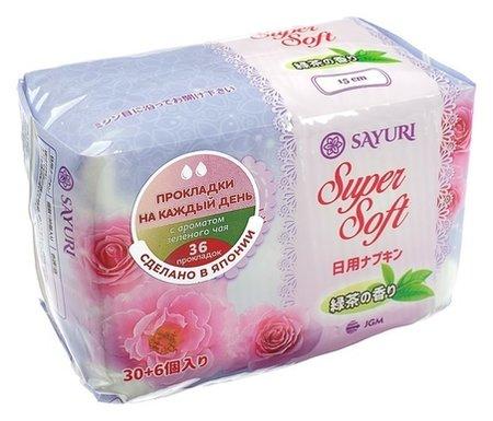Ежедневные гигиенические прокладки с аром. зеленого чая Super Soft, 15 см, 36 шт  Sayuri