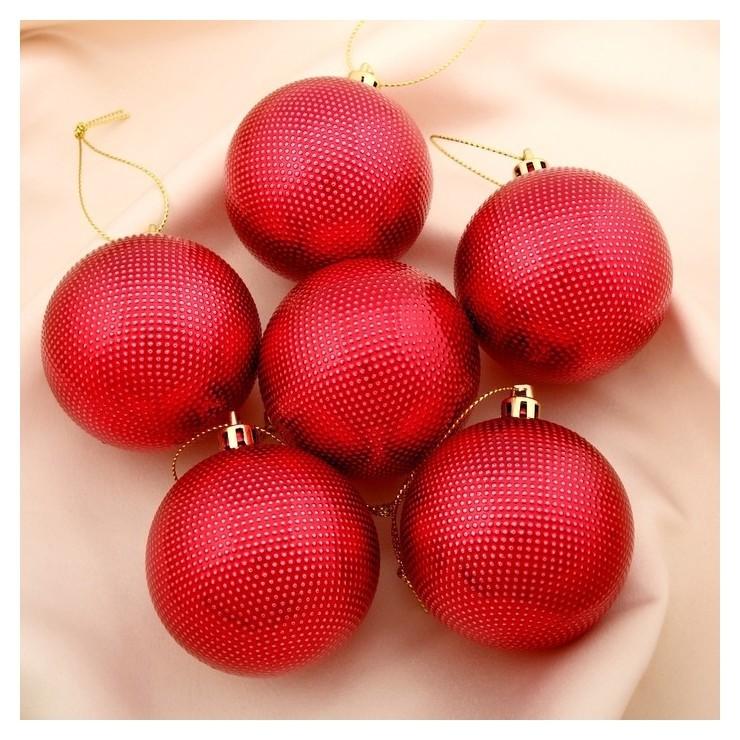 Набор шаров пластик D-6 см, 6 шт Текстура красный Зимнее волшебство
