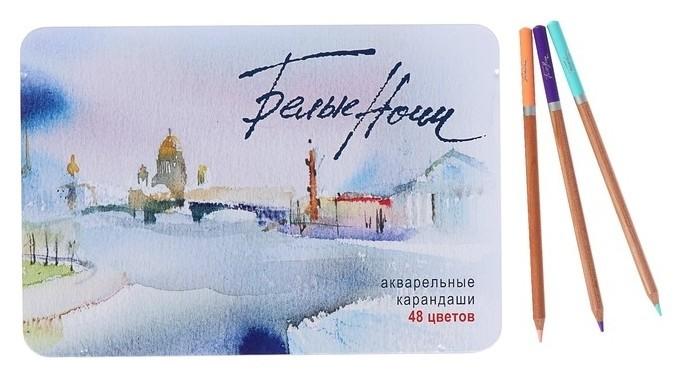 Карандаши художественные акварельные «Белые ночи», 48 цветов, с кистью, в металлическом пенале  Невская палитра