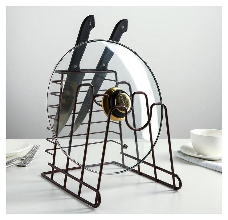 Подставка для ножей и крышек Лофт, цвет коричневый Доляна