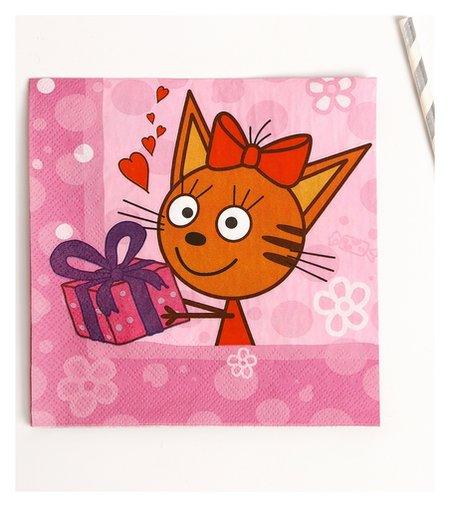 Салфетки «Три кота», 20 шт., 33х33 см, цвет розовый NNB