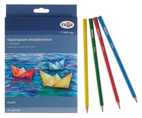 Карандаши цветные акварельные 36 цветов, «Гамма» «лицей», с кистью, шестигранные  Гамма